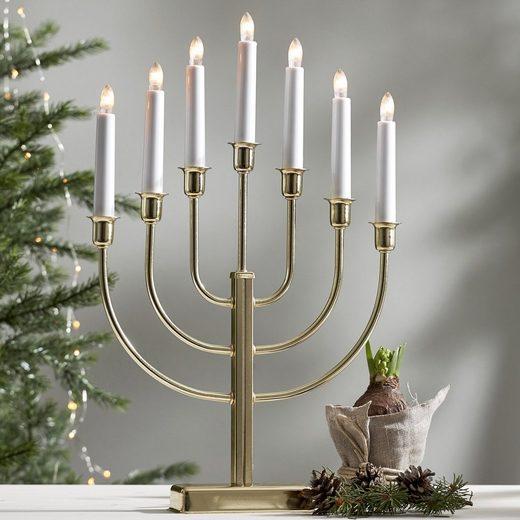 STAR TRADING Kerzenleuchter »Kerzenleuchter KRISTINA - 7 Arme - warmweiße Lampen - H: 47cm - Schalter - Gold«