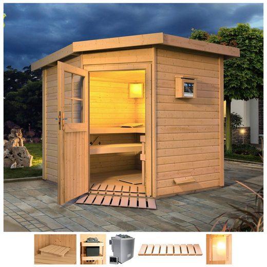 Karibu Saunahaus »Tore«, BxTxH: 231 x 196 x 226 cm, 38 mm, 9-kW-Bio-Ofen mit ext. Steuerung