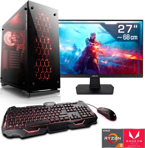 "CSL Levitas T8189 Gaming-PC-Komplettsystem (27"", AMD Ryzen 3, Radeon Vega 8, 16 GB RAM, 1000 GB HDD, 512 GB SSD)"