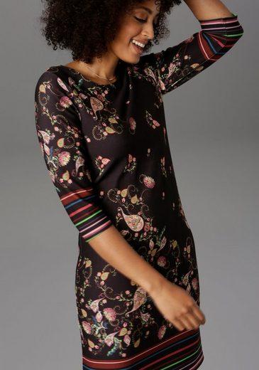 Aniston SELECTED Jerseykleid mit gestreiften Bordüren