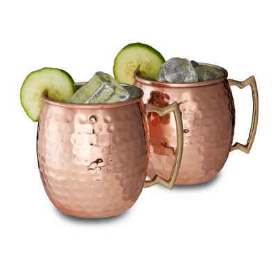 relaxdays Cocktailglas »Moscow Mule Becher 2er Set«, Edelstahl