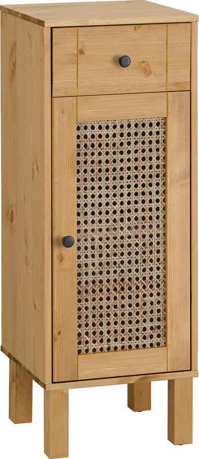 Home affaire Unterschrank »Roan« aus Kiefer massiv mit Rattan-Einsatz, Breite 32 cm