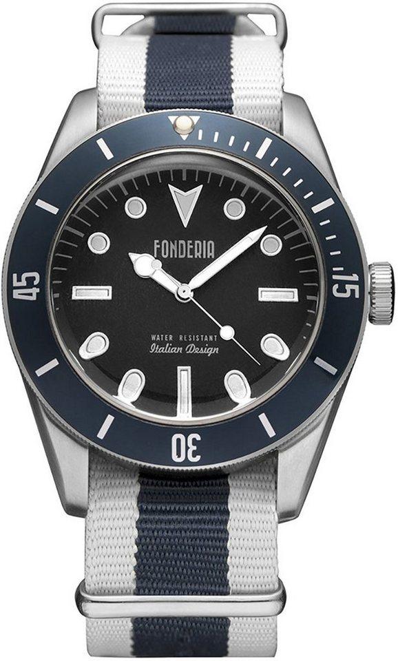 fonderia -  Quarzuhr »UAP8A002UBB  Herren Uhr P-8A002UBB Textil«, (Analoguhr), Herren Armbanduhr rund, weiß, blau, schwarz