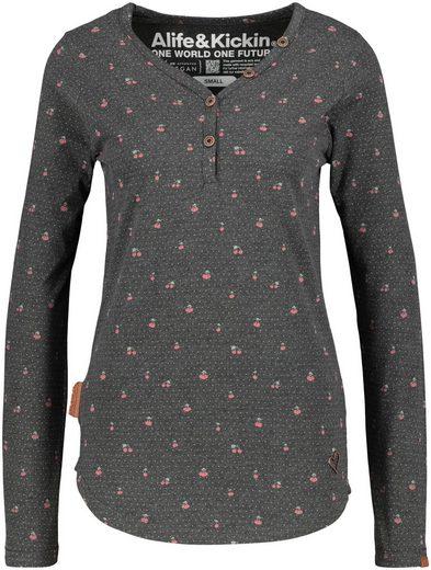 Alife & Kickin T-Shirt »DaisyAK« Langarmshirt mit Knopfleise und Alloverprint