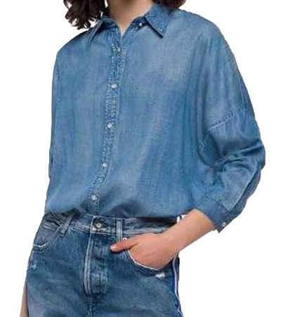 Replay Hemdbluse »REPLAY Hemd-Bluse stilvolle Damen Freizeit Long-Bluse Business-Hemd mit leicht längerem Hinterteil Hand-Made in Jeans-Hemd Optik Hellblau«