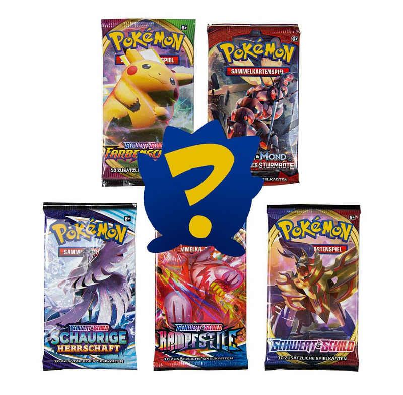 POKÉMON Sammelkarte »Pokémon Sammelkartenspiel - 5 x Booster Packung (gemischt & zufällig sortiert) + 1 Mini-Sammelalbum«