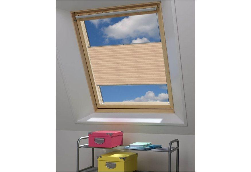 Dachfenster Plissee-Faltenstore, Sunlines, »Echter Crush«, nach Wunschmaß, Lichtschutz (1 Stck.) in coffee