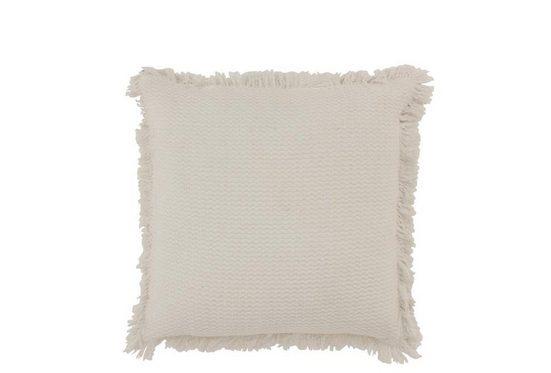 J-line Dekokissen »Boho Kissen mit Fransen weiß, 45x45cm«