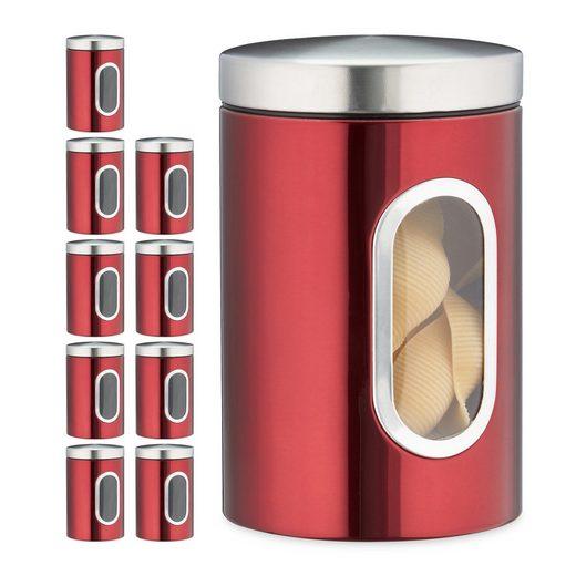 relaxdays Vorratsdose »10x Vorratsdose mit Sichtfenster rot«, Metall