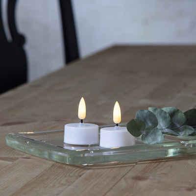 STAR TRADING LED-Kerze »LED Teelicht realistisch aussehende Flamme Batterie Timer D: 3,8cm 2er Set«