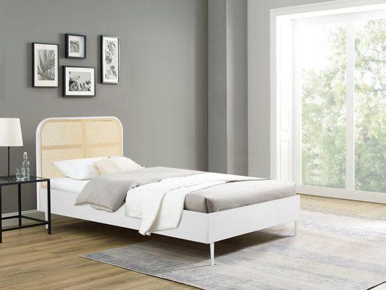 elbgestoeber Bett »Elbtraum«, Mit Rattaneinsätzen, in 3 Breiten erhältlich