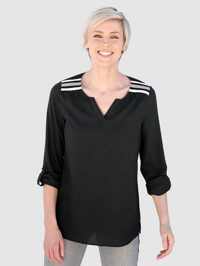 Laura Kent Tunikabluse mit kontrastfarbenem Streifenribsband