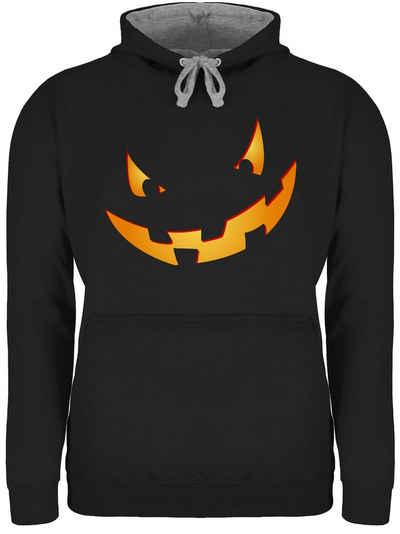 Shirtracer Hoodie »Kürbisgesicht klein Pumpkin - Halloween - Unisex Damen & Herren Kontrast Hoodie«