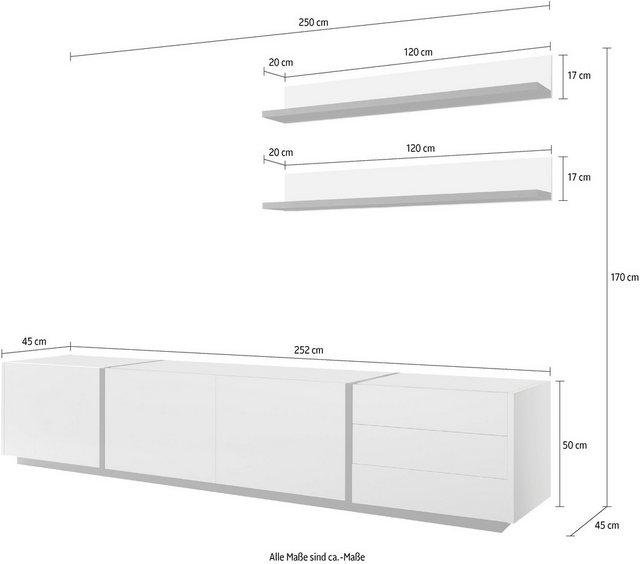 Wohnwände - INOSIGN Wohnwand »CAiO«, (Set, 3 St), Breite ca. 250 cm  - Onlineshop OTTO