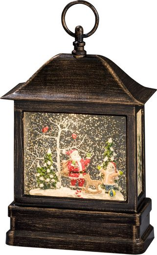 KONSTSMIDE LED Laterne »Schneelaterne mit Weihnachtsmann und Kind«, wassergefüllt, mit Timer