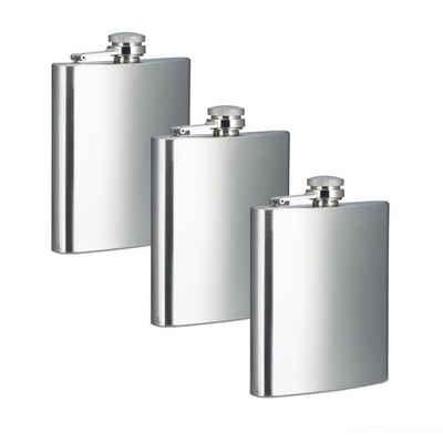 relaxdays Flachmann »3 x Flachmann aus Edelstahl 200 ml«