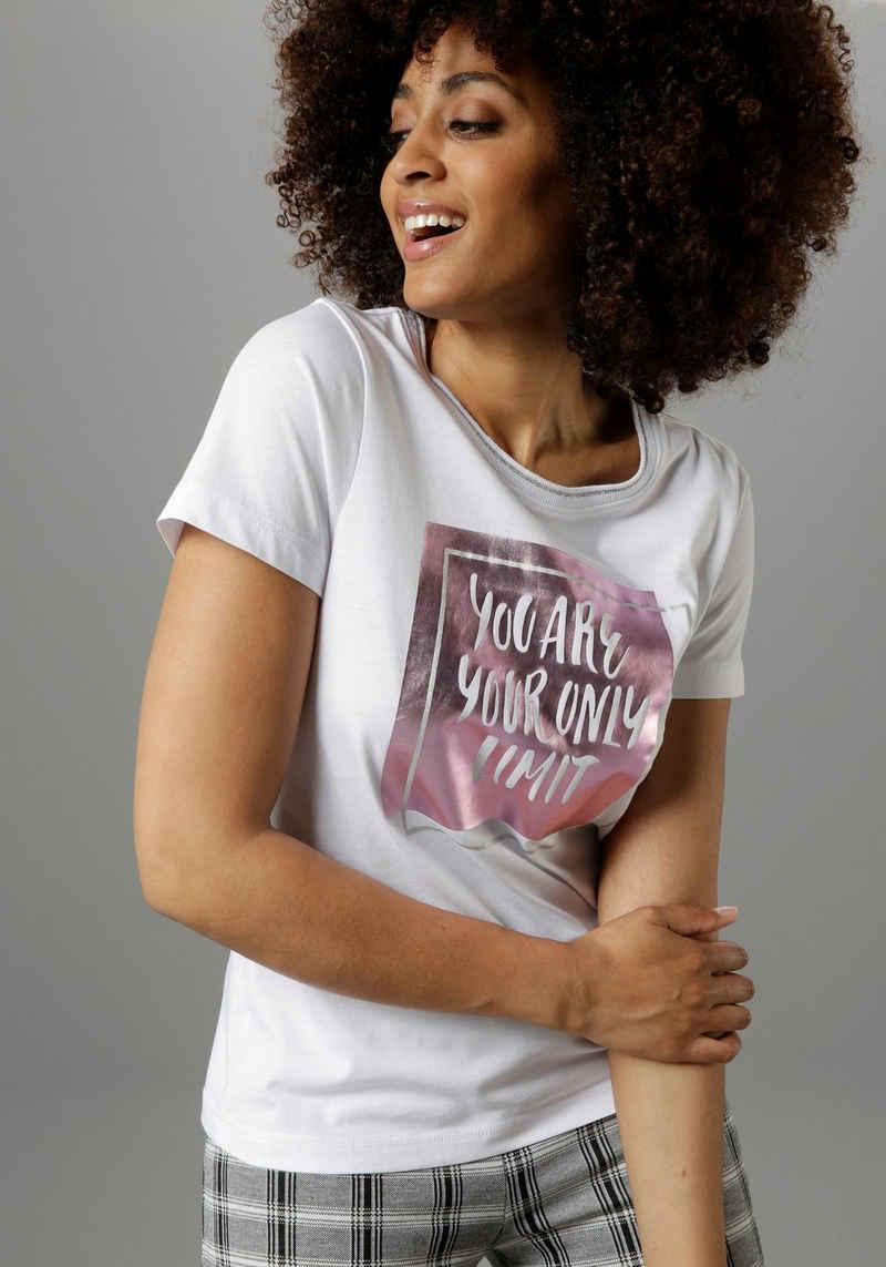 Aniston SELECTED T-Shirt mit Foliendruck und Statement-Spruch - NEUE KOLLEKTION