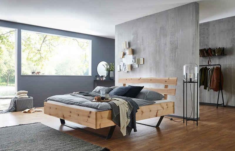 Siegelholz Massivholzbett »MAJA - Kopfteil 2-teilig mit Baumkante«, Optional mit Nachtkonsole, aus Massivholz