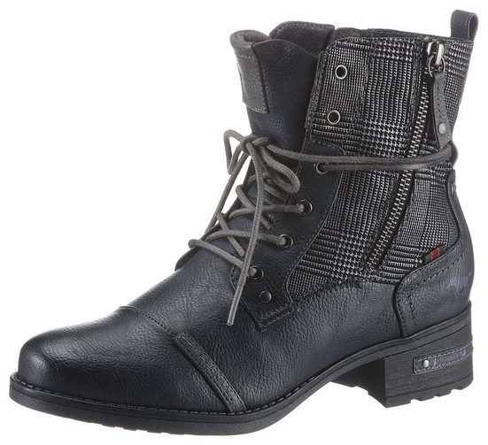 Mustang Shoes Schnürstiefelette mit Zier Reißverschluss