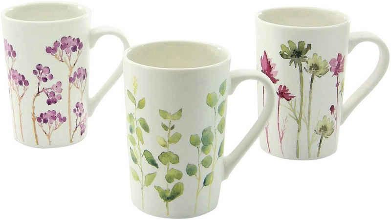 CreaTable Becher »Botanica«, New Bone China, Blumenmotive, 6-teilig