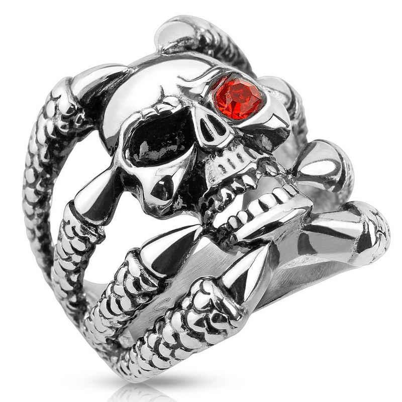 BUNGSA Fingerring »Ring Totenkopf mit Klauen Silber aus Edelstahl« (inkl. Schmuckbeutel aus Organza), Damen Herren Verlobung Ehering Valentinstag