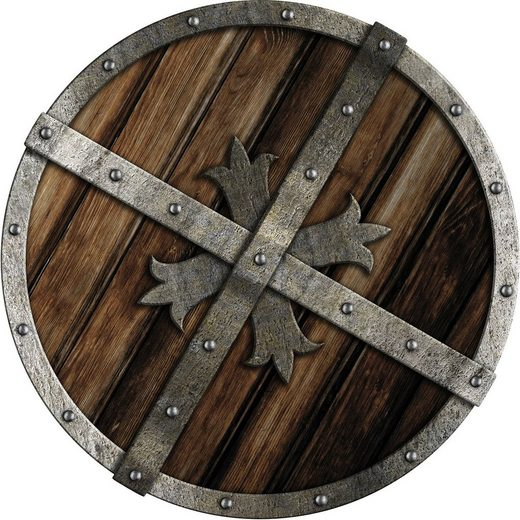 QUEENCE Holzdekor »Vikinger Schild in Holzoptik«, Holzobjekt 30x30 cm