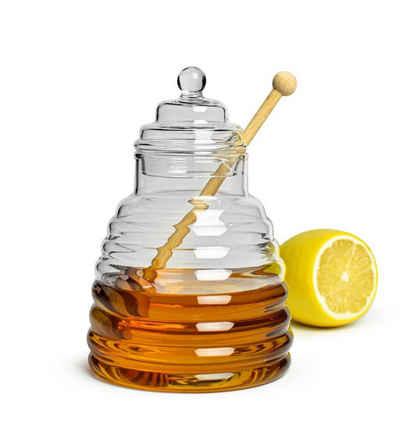 Sendez Honigglas »3-tlg. Honigtopf Honigdose Honigspender Honigglas Marmeladendose Vorratsdose Borosilikatglas«