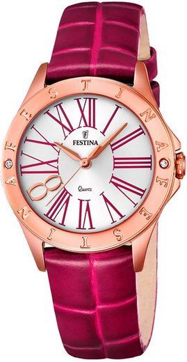 Festina Quarzuhr »UF16930/2 Festina Damen Uhr F16930/2 Leder«, (Analoguhr), Damen Armbanduhr tonneau, rund, Lederarmband pink