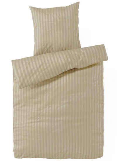 Bettwäsche »Edle Damast Qualität, Bezug aus 100% Baumwolle, mit eleganten Streifen, Set 2tlg«, Carpe Sonno, Gestreifte Damast Bettwäsche 155x220 cm in exklusiver Hotelqualität, Premium Bett-Wäsche besonders angenehm auf der Haut, Bettbezug mit edlem Streifen-Muster, leichter Glanz, pflegeleichte Ganzjahresbettwäsche