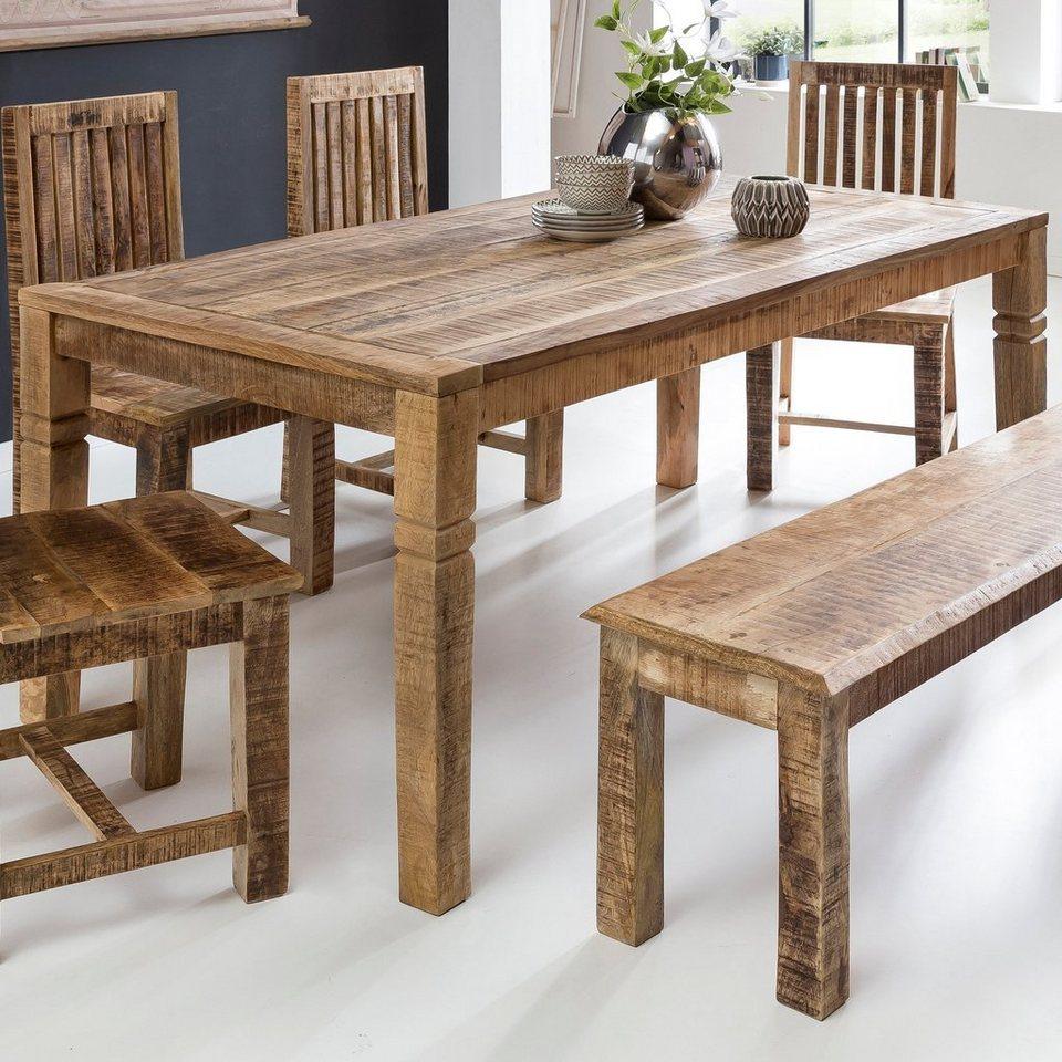 FINEBUY Esstisch »FB46«, Esszimmertisch Braun 46 x 46 x 46 cm Mango  Massivholz Design Landhaus Esstisch Massiv Tisch für Esszimmer rechteckig