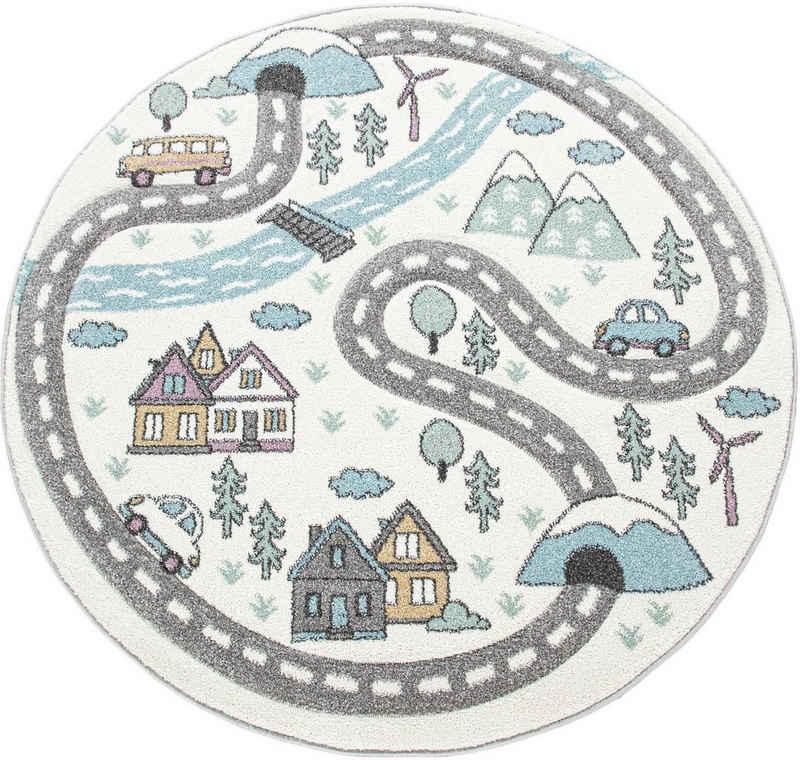 Kinderteppich »Volta 320«, Paco Home, rund, Höhe 12 mm, Straßen-Spielteppich, Kinderzimmer