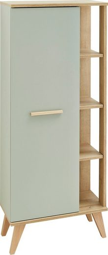 PELIPAL Midischrank »Salvie« Breite 50,5 cm, seitliche offenes Regal, Holzgriffe, Türdämpfer, Glaseinlegeböden