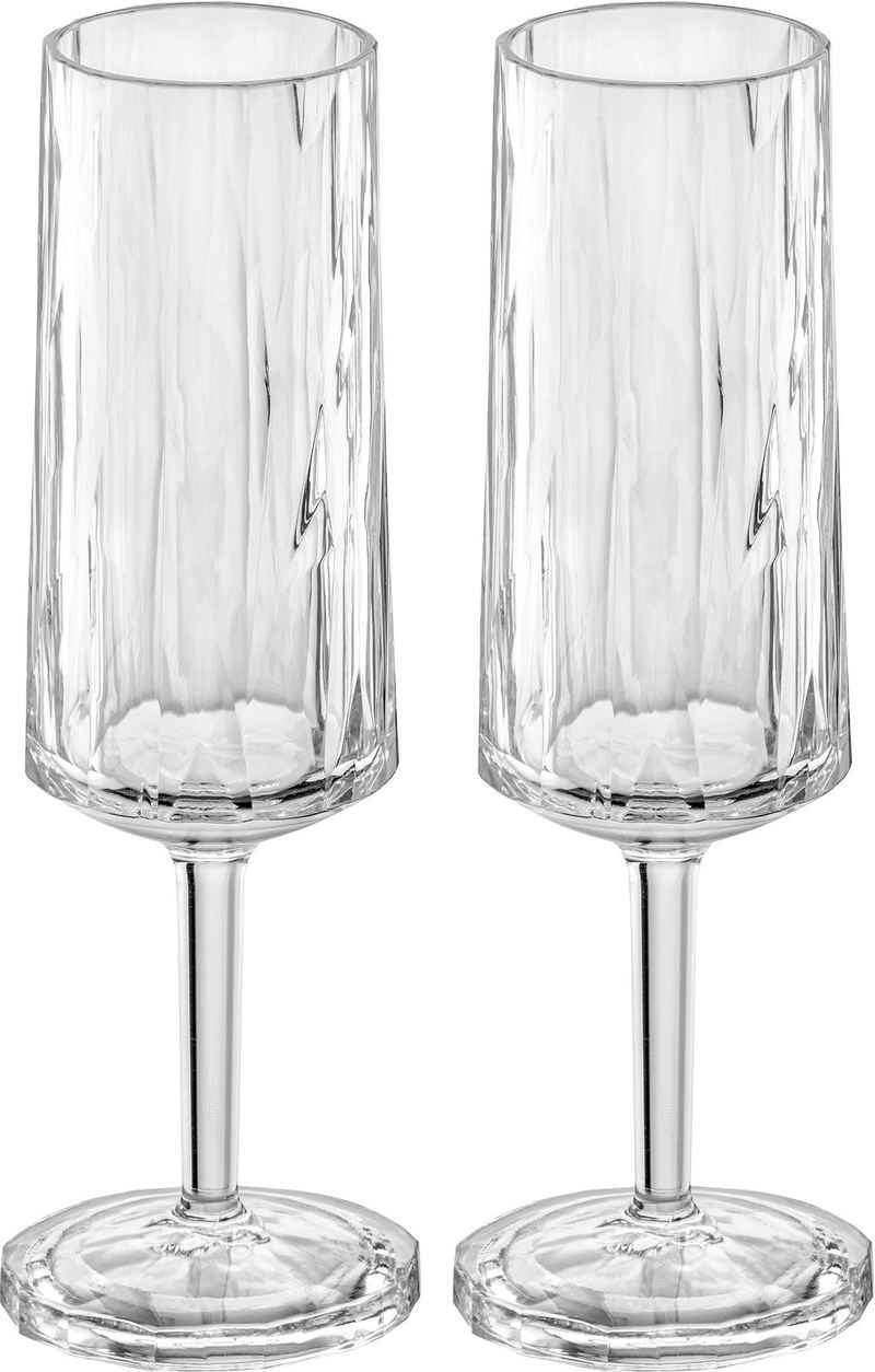 KOZIOL Sektglas »CLUB No. 14«, Kunststoff, tolles Facettendesign, unzerbrechlich, 100% recycelbar, made in Germany, spülmaschinengeeignet, 100ml, 2er-Set
