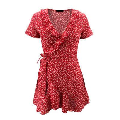 LAPA Strandkleid »Damenkleid Kurzarmkleid Rüschenbesatz Kleid V-Ausschnitt Kleid«