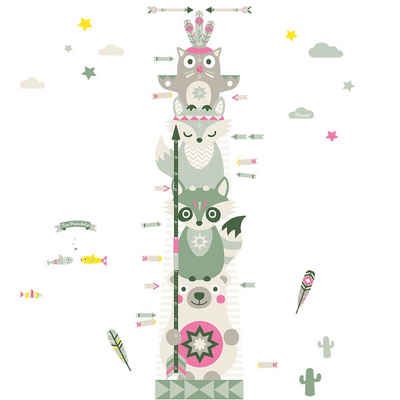 "anna wand Wandsticker »Messlatte ""Little Indians"" beige/olive/pink - Wandtattoo selbstklebend«"
