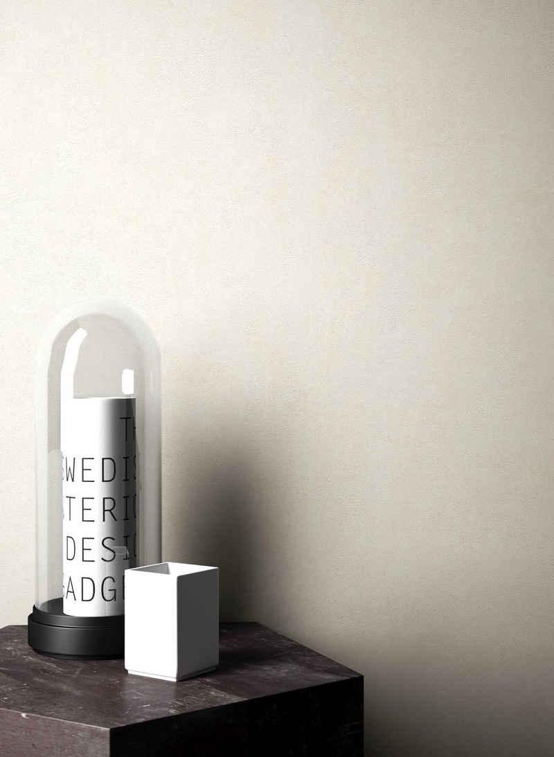 Newroom Vliestapete, Beige Tapete Leicht Glänzend Modern - Uni Einfarbig Creme Weiß Struktur Schlicht für Schlafzimmer Wohnzimmer Küche