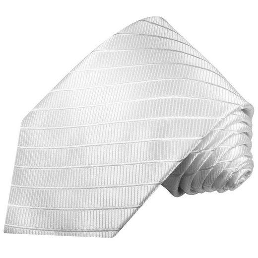 Paul Malone Krawatte »Designer Seidenkrawatte Herren Schlips modern uni gestreift 100% Seide« Schmal (6cm), weiß 691
