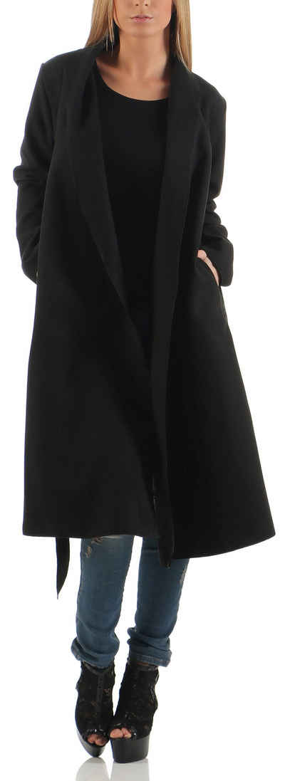malito more than fashion Trenchcoat »malito Damen Mantel lang mit Wasserfall-Schnitt, « Reverskragen