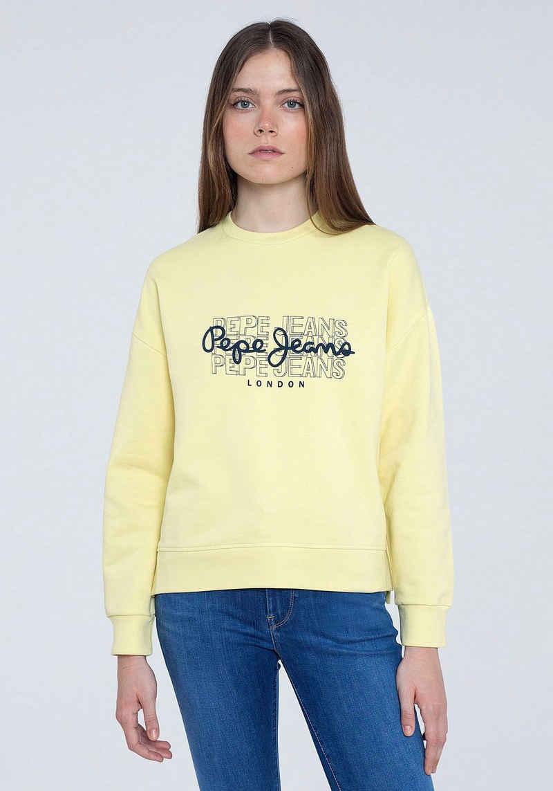Pepe Jeans Sweater »BERE« mit großem dreifachem Marken-Logo-Druck im Brustbereich