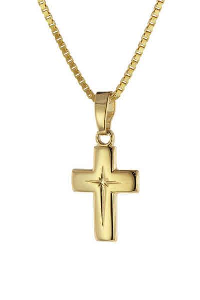 trendor Kette mit Anhänger »Kreuz-Anhänger Gold 333 (8 Karat) + plattierte«