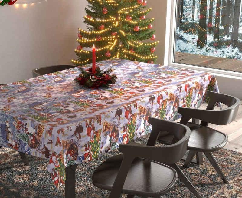 Beautex Tischdecke »Wachstuchtischdecke abwischbar Tischdecke RUND ECKIG, Weihnachten Motiv und Größe wählbar« (1-tlg)