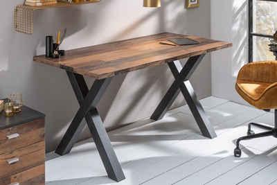 riess-ambiente Schreibtisch »MONTREAL 140cm natur«, Industrial · Bürotisch · X-Gestell · Eichen-Optik · Shabby · Arbeitszimmer