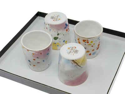 Lashuma Espressotasse »Kleckse«, Porzellan, Kleine Becher je 100 ml, Italienische Porzellantassen