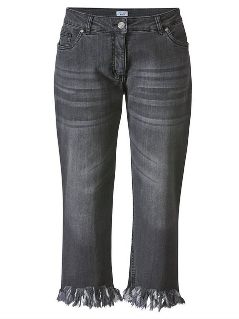 Hosen - Angel of Style by Happy Size 7 8 Jeans mit offenen Kanten › grau  - Onlineshop OTTO