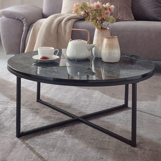 FINEBUY Couchtisch »FB24016«, Ø 80 cm Marmoroptik Schwarz Wohnzimmertisch mit Metall-Gestell Sofatisch Rund Tisch Wohnzimmer Beistelltisch