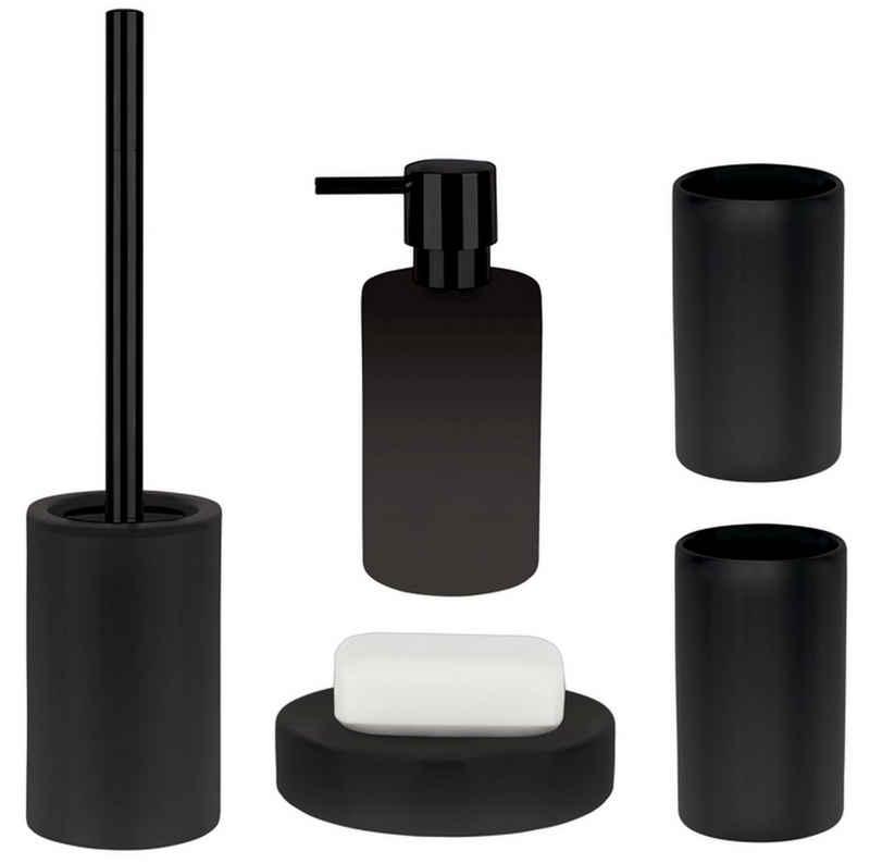 spirella Badaccessoires-Sets »TUBE-MATT«, Zubehör-Set aus hochwertiger Keramik, schwarz, elegante Matt-Optik, 5 tlg., bestehend aus: WC-Bürste, Seifenspender, 2x Zahnputzbecher, Seifenschale