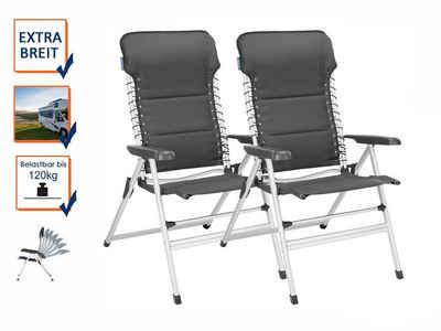 Campart Campingstuhl (2 Stück), Alu Hochlehner Klappstuhl SET Relax-Stuhl Garten Balkon, Campingmöbel & Terrassen-Stühle als Klapp-Liegestuhl gepolstert, Garten- & Camping-Sessel Falt-Stuhl XXL klapp-bar