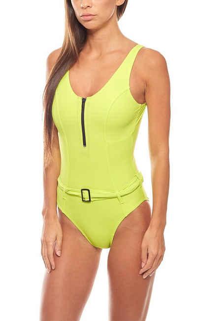 Heine Badeanzug »Shaping-Badeanzug mit Gürtel große Oberweite Schwimmanzug D-Cup Kiwi Grün heine ausgefallene Bademode«