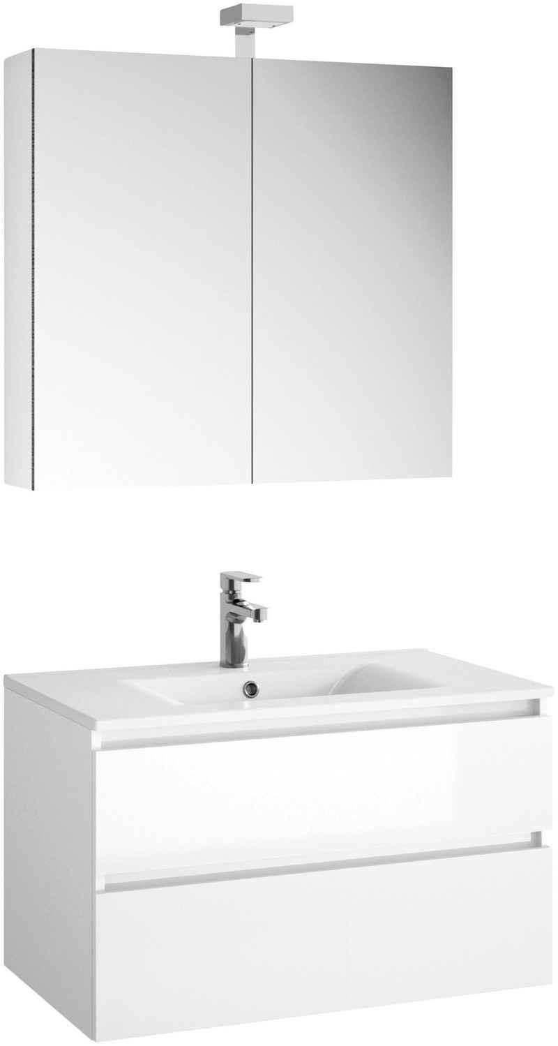 Allibert Badmöbel-Set »Alma«, (3-St), Breite 80 cm, bestehend aus Waschbecken, Waschbeckenunterschrank und Spiegelschrank
