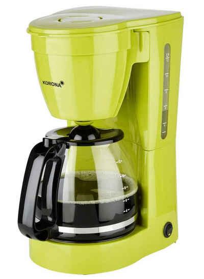 KORONA Filterkaffeemaschine Kaffeemaschine, 1.5l Kaffeekanne, Permanentfilter 1x4, mit Glaskanne, Papierfilter 1x4, Kaffeeautomat, 12 Tassen, 800 Watt, Schwenkfilter, Warmhalteplatte, Abschaltautomatik, transparente Wasserstandsanzeige, Kontrollleuchte, Farbe: Grün